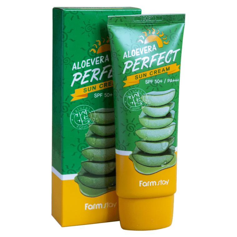 Farm Stay Aloe vera Perfect Sun Cream SPF 50+/PA+++ - Солнцезащитный крем SPF-50 / PA+++ с алоэ для лица и тела